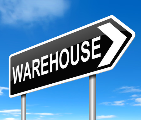 storage warehouse: Illustration depicting a sign directing to Warehouse.