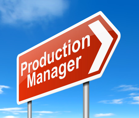 directing: Illustration depicting a sign directing to the Production Manager.