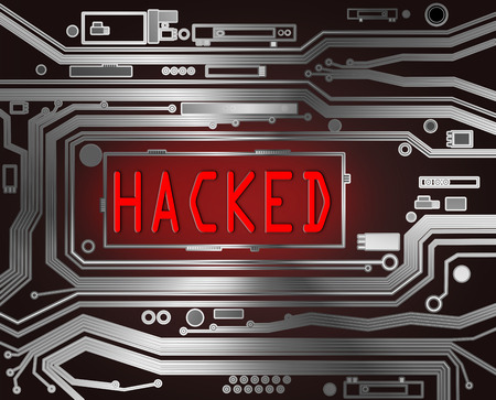 hacked: Abstract style illustration depicting printed circuit board components with a hacked concept. Stock Photo