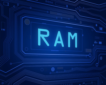 random access memory: Abstract style illustration depicting printed circuit board components with a RAM concept.