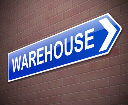 stockpile: Illustration depicting a sign directing to Warehouse.