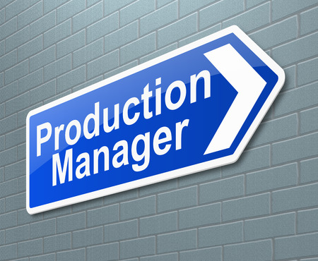 staffing: Illustration depicting a sign directing to the Production Manager.
