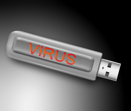 usb disk: Illustration depicting a usb flash drive with a virus concept. Stock Photo