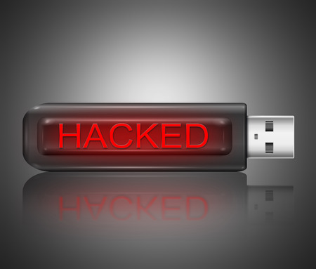 Illustration depicting a usb flash drive with a hacked concept.