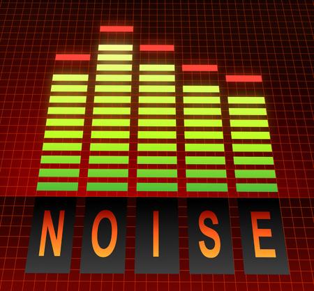 contaminacion acustica: Ilustración que muestra los niveles de ecualizador gráfico con un concepto de ruido.