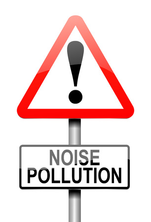 contaminacion acustica: Ilustración que muestra un letrero con un concepto de la contaminación acústica.