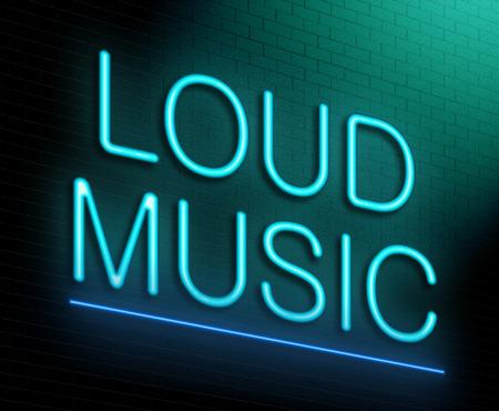 contaminacion acustica: Ilustración que muestra un letrero de neón iluminado con un concepto de música a todo volumen.