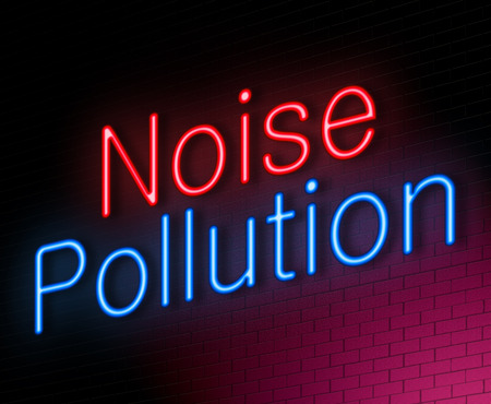 Illustration depicting an illuminated neon sign with a noise pollution concept.