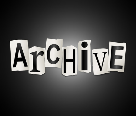 Illustration depicting a set of cut out printed letters arranged to form the word archive. illustration
