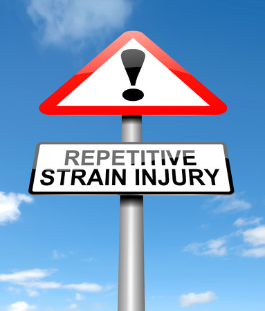 sprain: Illustration depicting a sign with a repetitive strain injury concept.