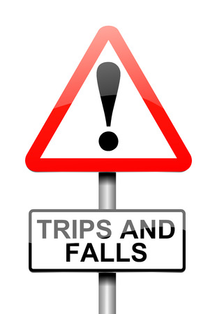 Illustration depicting a sign with a trip and fall concept.