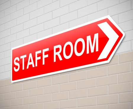 directing: Illustration depicting a sign directing to staff room.