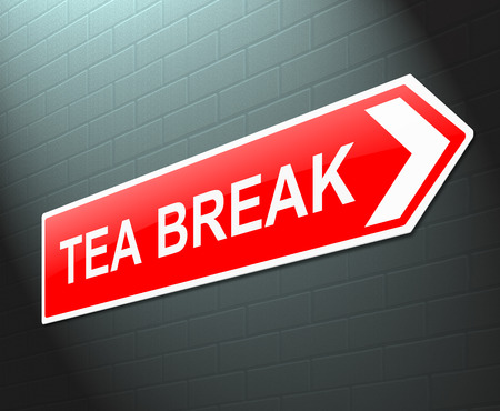 downtime: Illustration depicting a sign with a tea break concept.