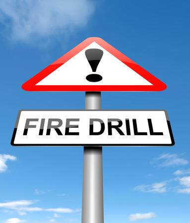 taladro: Ilustración que muestra un letrero con un concepto de simulacro de incendio.