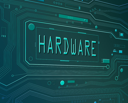 Abstract style illustration depicting printed circuit board components with a hardware concept. illustration