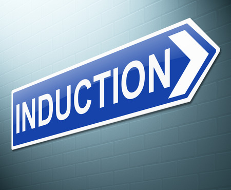 Illustration depicting a sign with an induction concept.