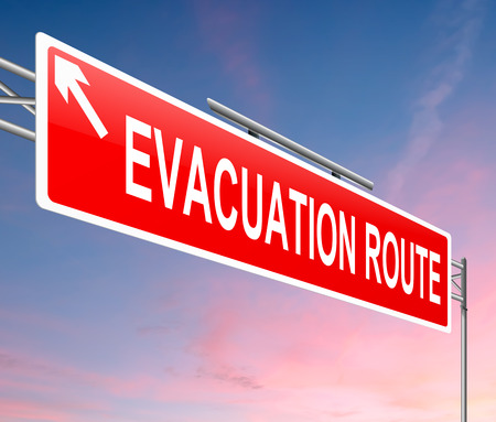 situation: Illustration depicting an evacuation route sign with sunset background. Stock Photo
