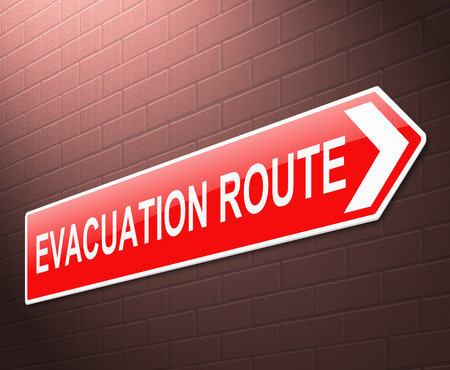 evacuating: Illustration depicting an evacuation route sign with wall background. Stock Photo