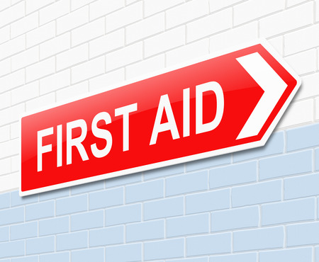 treating: Illustration depicting a sign directing to first aid.