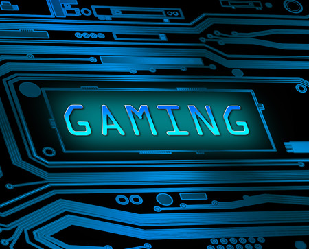 playing video games: Abstract style illustration depicting printed circuit board components with a gaming concept.
