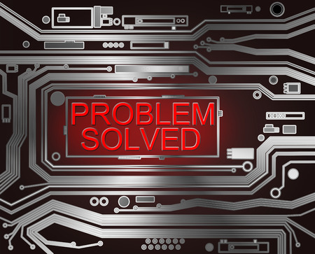 problem solved: Abstract style illustration depicting printed circuit board components with a problem solved concept.. Stock Photo