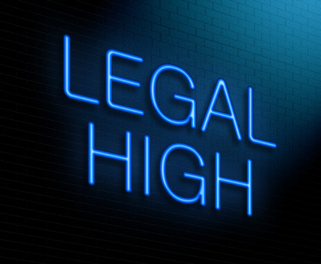 recreational drug: Illustration depicting an illuminated neon sign with a legal high concept.