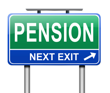 allowance: Illustration depicting a sign with a pension concept.