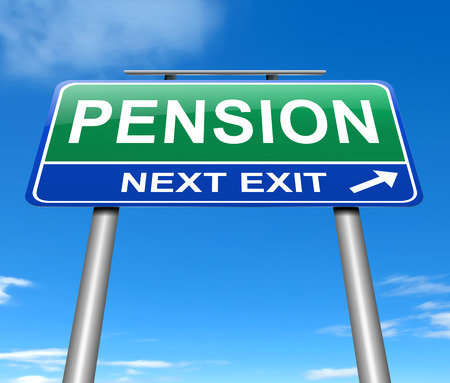 retire: Illustration depicting a sign with a pension concept.
