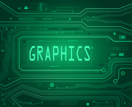 Abstract style illustration depicting printed circuit board components with a graphics concept. illustration