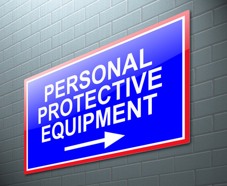 personal protective equipment: Illustration depicting a sign with a personal protective equipment concept. Stock Photo