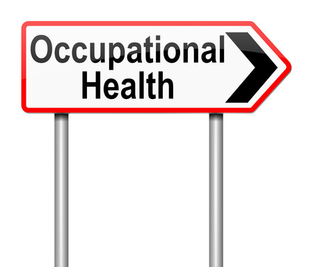 health and safety: Illustration depicting a sign with an Occupational Health concept. Stock Photo