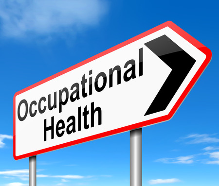 Illustration depicting a sign with an Occupational Health concept. Archivio Fotografico