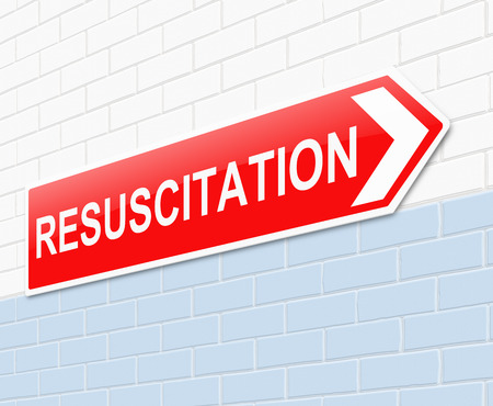 resuscitation department: Illustration depicting a sign with a resuscitation concept.