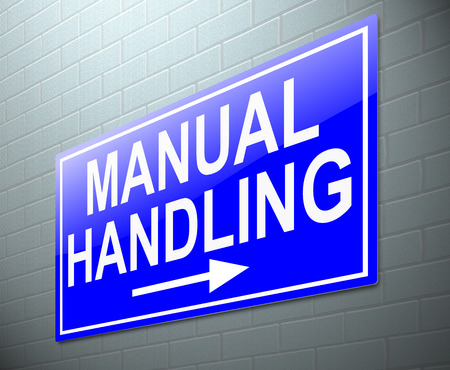 handling: Illustration depicting a sign with a manual handling concept.