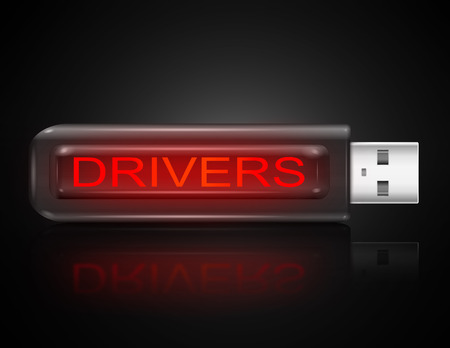 enabling: Illustration depicting a usb flash drive with a drivers concept.
