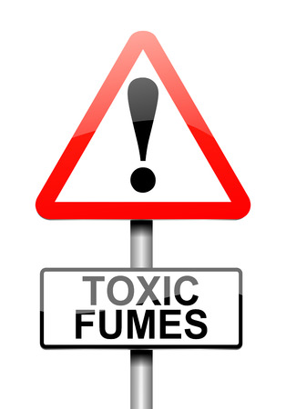 fumes: Illustration depicting a sign with a toxic fumes concept.