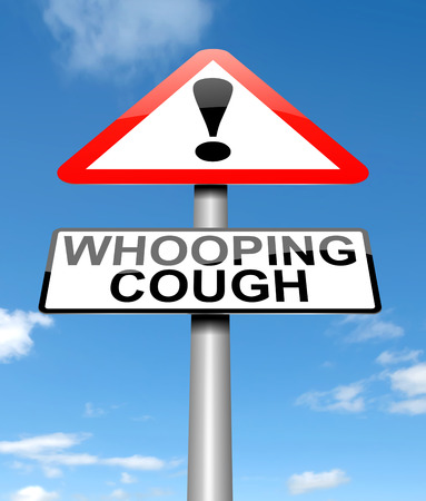 whooping: Illustration depicting a sign with a whooping cough concept.