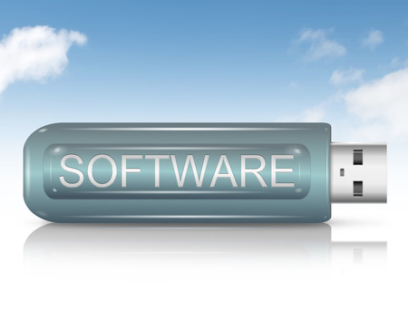 shareware: Illustration depicting a usb flash drive with a software concept.
