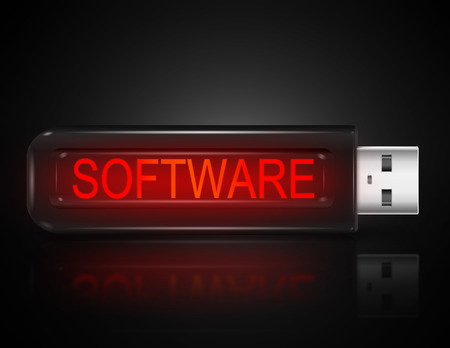 backing: Illustration depicting a usb flash drive with a software concept.