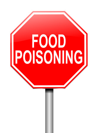 food poisoning: Illustration depicting a sign with a food poisoning concept.