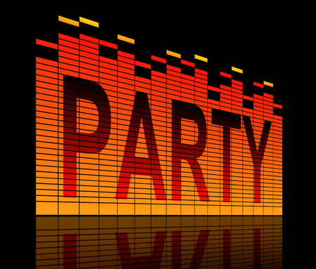 Illustration depicting graphic equalizer level bars with a party concept. Imagens