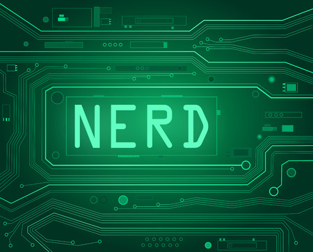 geeky: Abstract style illustration depicting printed circuit board components with a nerd concept.