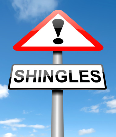 lesions: Illustration depicting a sign with a Shingles concept. Stock Photo