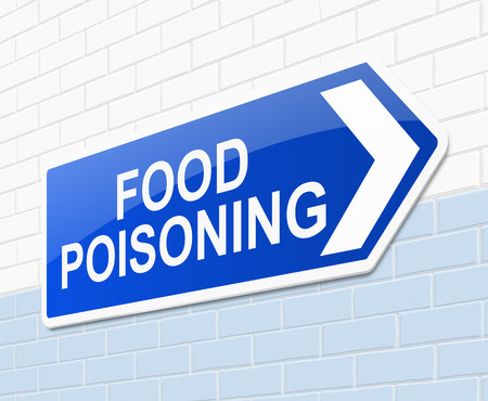 contamination: Illustration depicting a sign with a food poisoning concept.