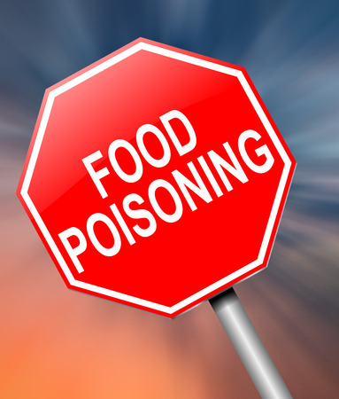 poisoning: Illustration depicting a sign with a food poisoning concept.