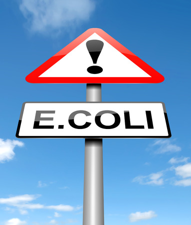 poisoning: Illustration depicting a sign with an E coli concept.