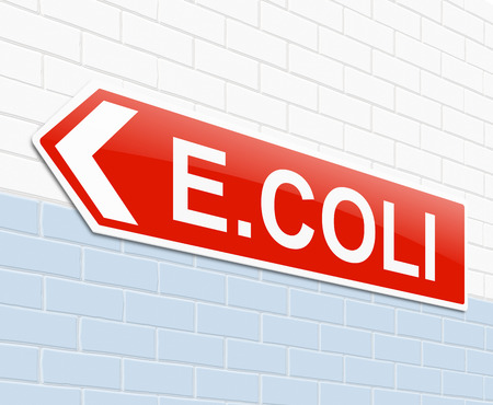 Illustration depicting a sign with an E coli concept. illustration