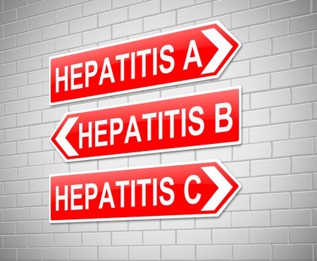 Illustration depicting a sign with a Hepatitis concept. Archivio Fotografico