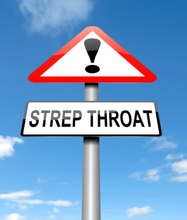sore: Illustration depicting a sign with a Strep Throat concept.