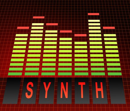 synthesiser: Illustration depicting graphic equalizer level bars with a synth concept. Stock Photo